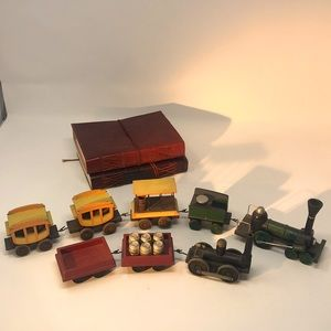 Vintage Child's Wooden Toy Train Set-Two Sets